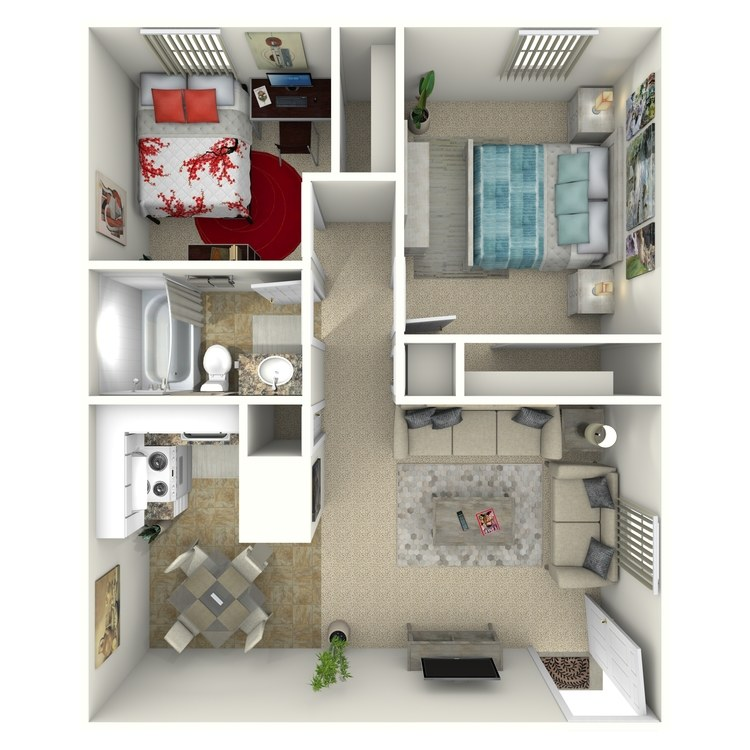 Floor plan image of 2 Bed 1 Bath Down