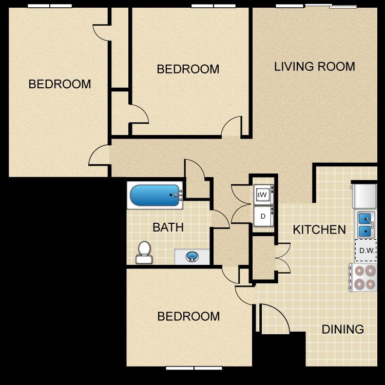 Floor plan image of 3HC