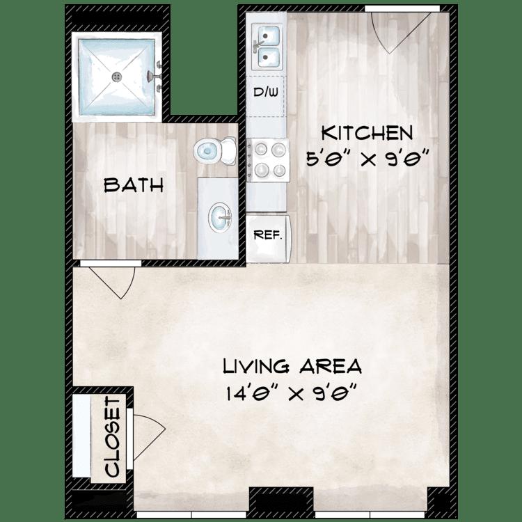 Floor plan image of 355 SF