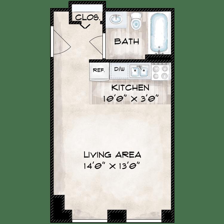 Floor plan image of 381 SF