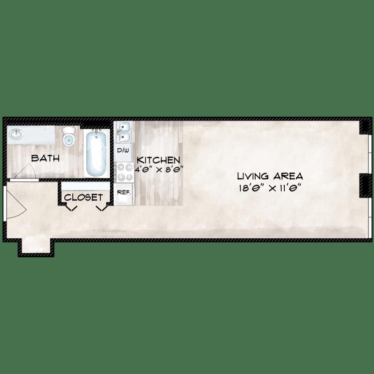 Floor plan image of 505 SF