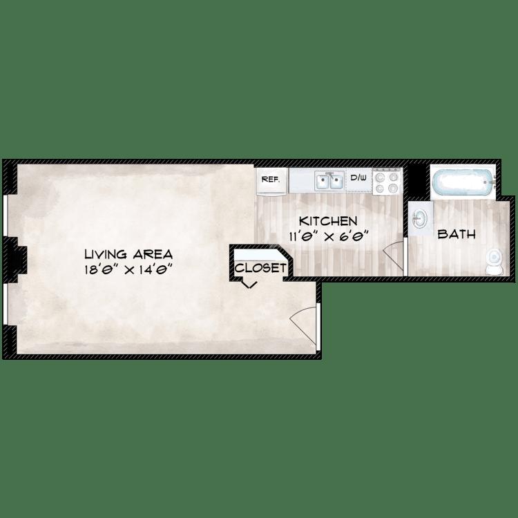 Floor plan image of 514 SF