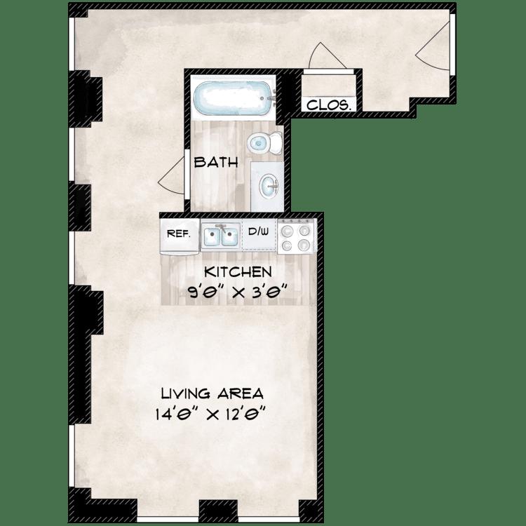 Floor plan image of 527 SF