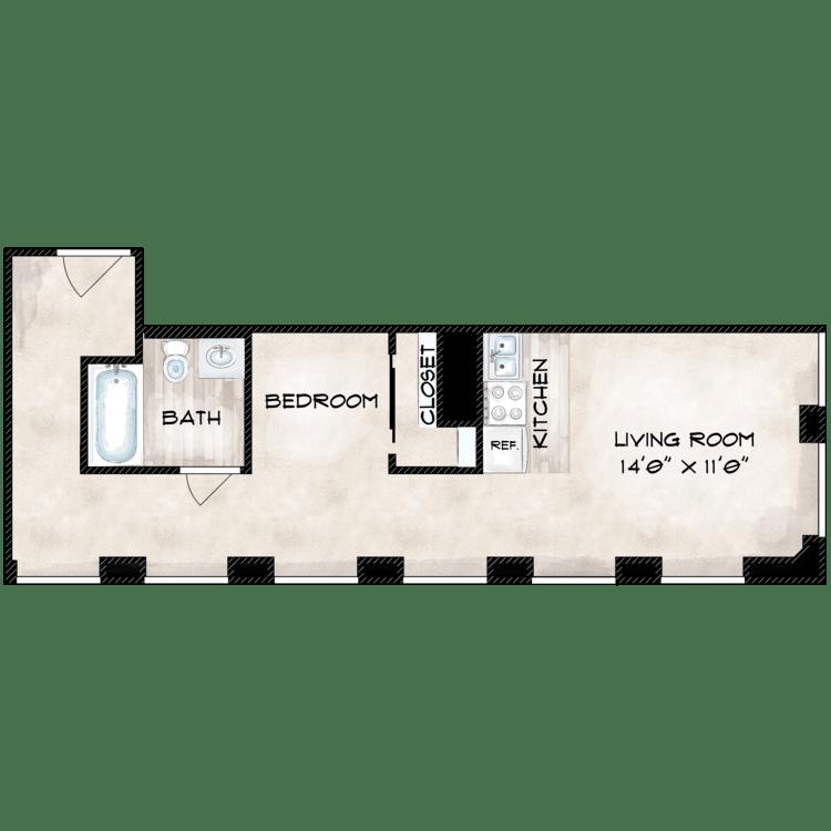 Floor plan image of 586 SF
