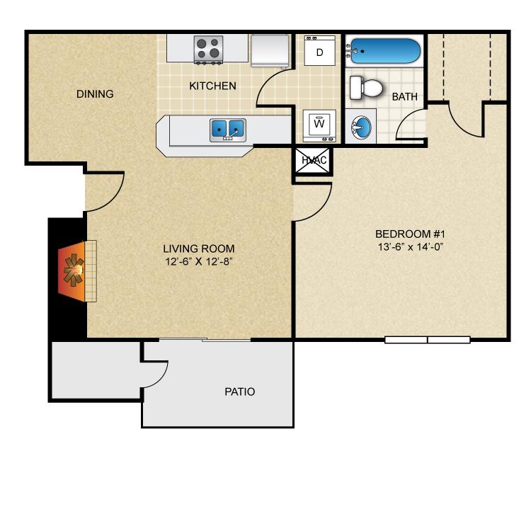 Floor plan image of 1 Bed 1 Bath A1R