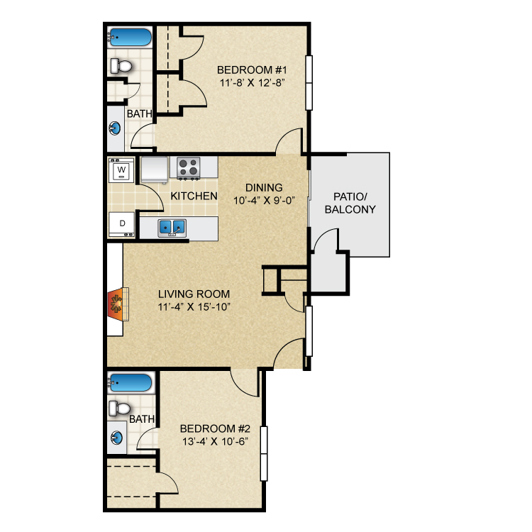 Floor plan image of 2 Bed 2 Bath B1R