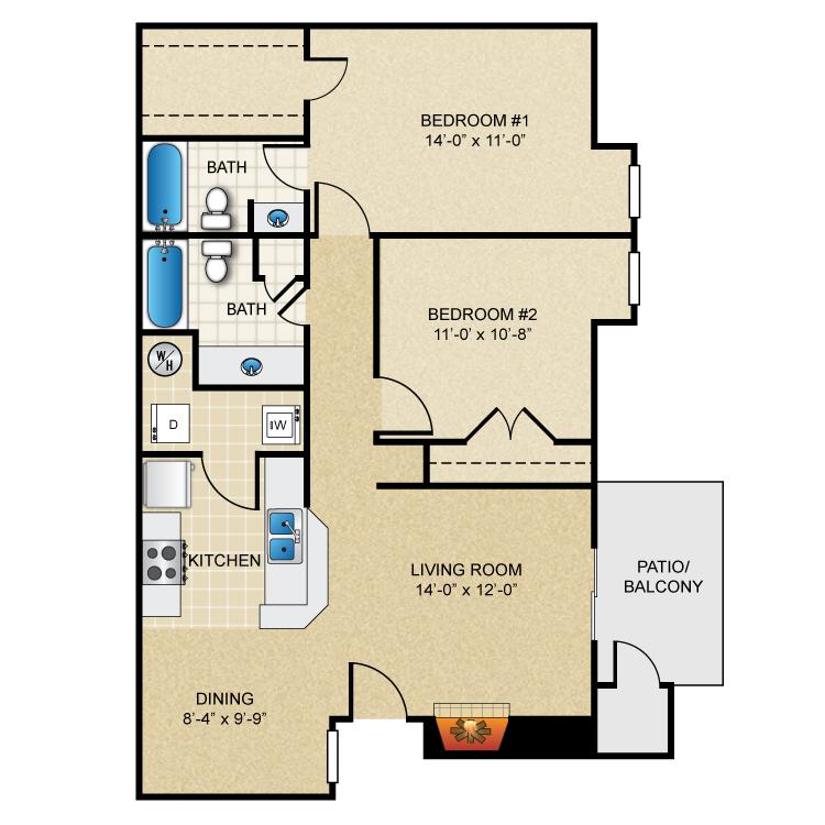 Floor plan image of 2 Bed 2 Bath B2R