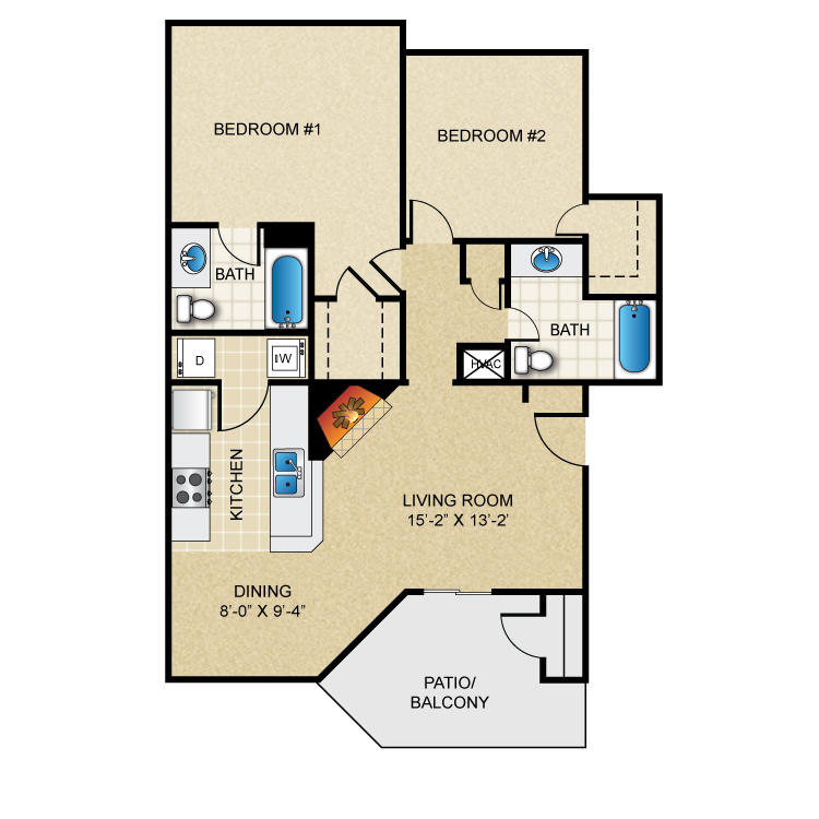 Floor plan image of 2 Bed 2 Bath B3R