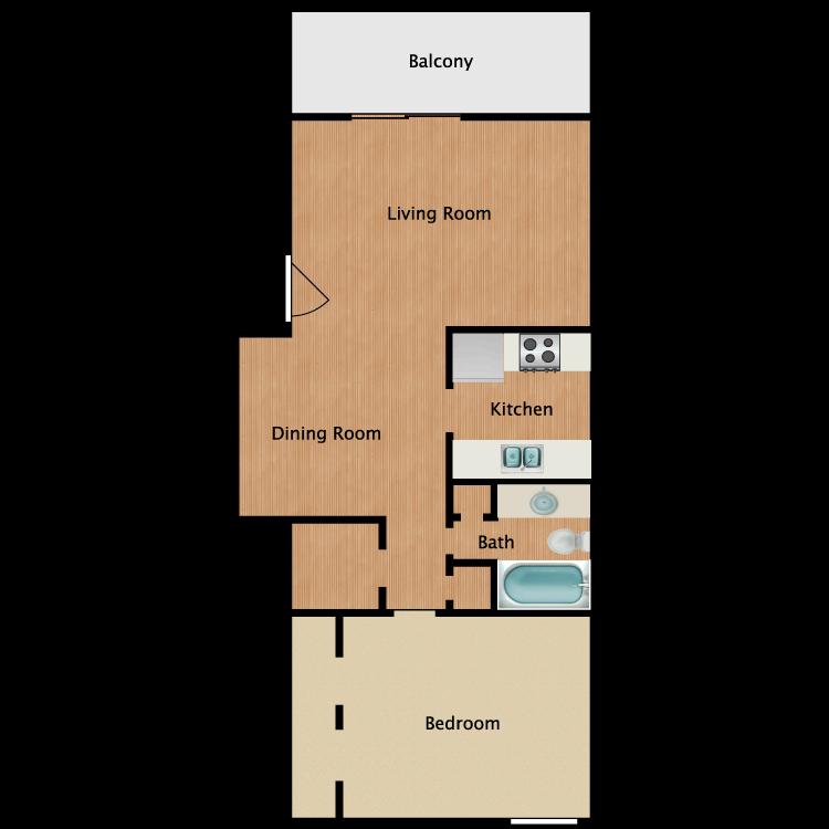 Floor plan image of 1x1 Reno