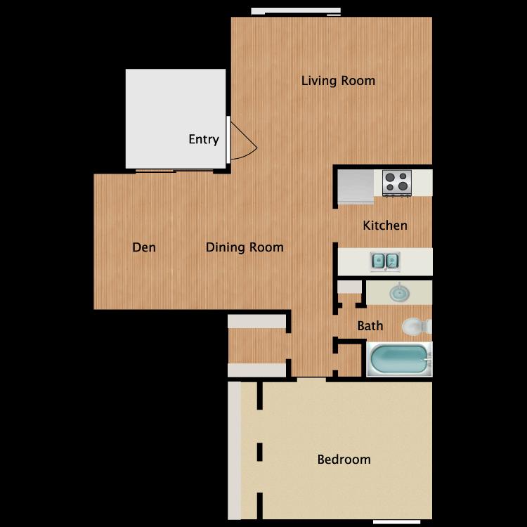 Floor plan image of 1x1 w/Den Reno