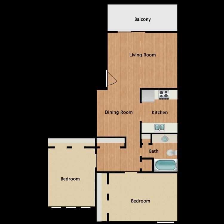 Floor plan image of 2x1 Reno