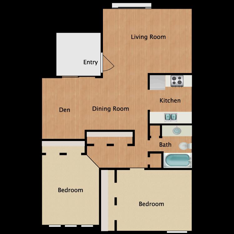 Floor plan image of 2x1 w/Den Reno
