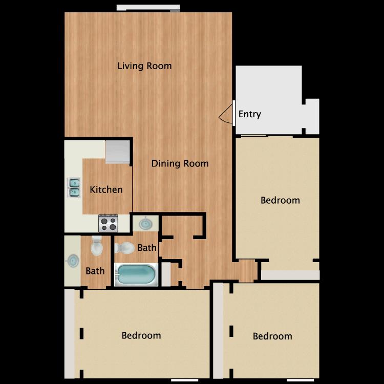 Floor plan image of 3x1.5 Reno