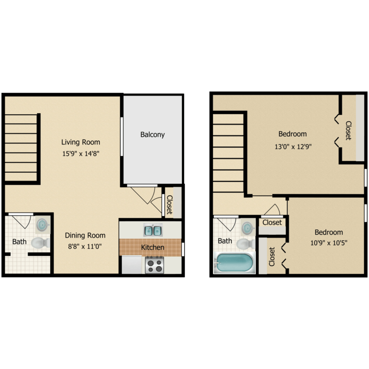 Floor plan image of 2 Bed TH 1.5 Bath