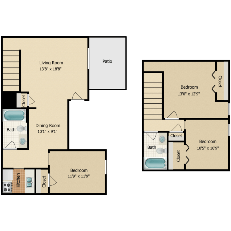 Floor plan image of 3 Bed TH 2 Bath