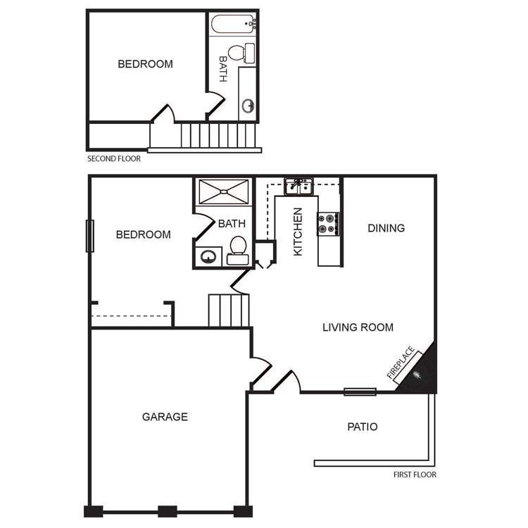Floor plan image of 2 Bed 2 Bath Townhome