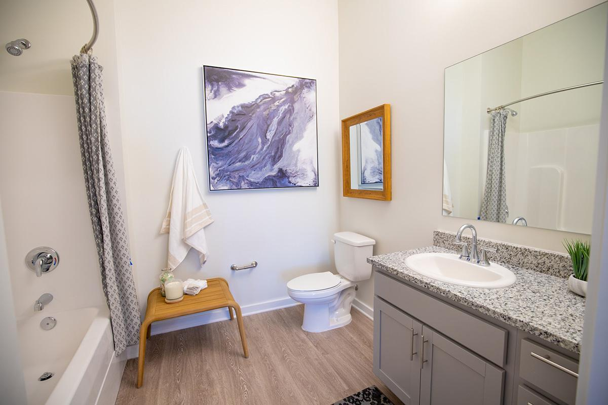 Spacious bathroom in Cambridge studio floor plan at The Lofts at Brentwood