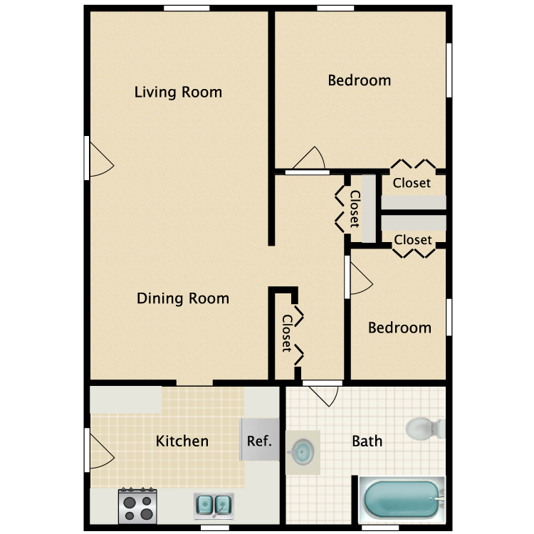 Floor plan image of Model Unit - 2 Bed 1 Bath