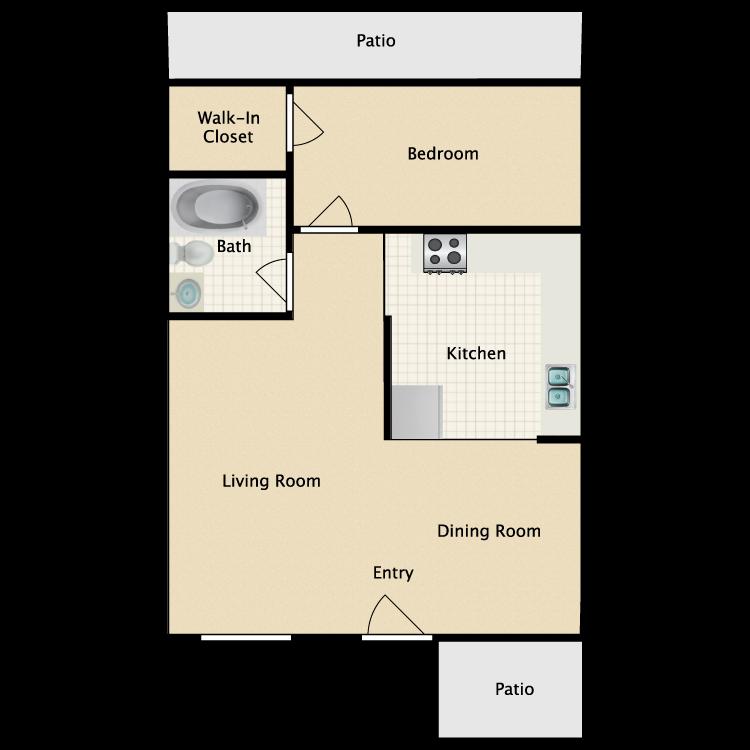 Floor plan image of 1 Bed 1 Bath Cottage