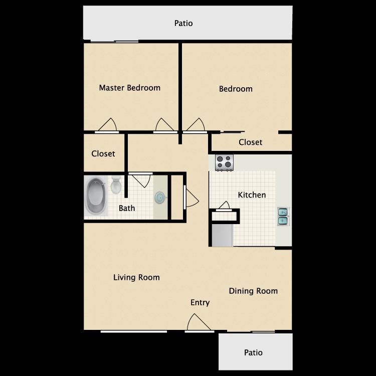 Floor plan image of 2 Bed 1 Bath Cottage
