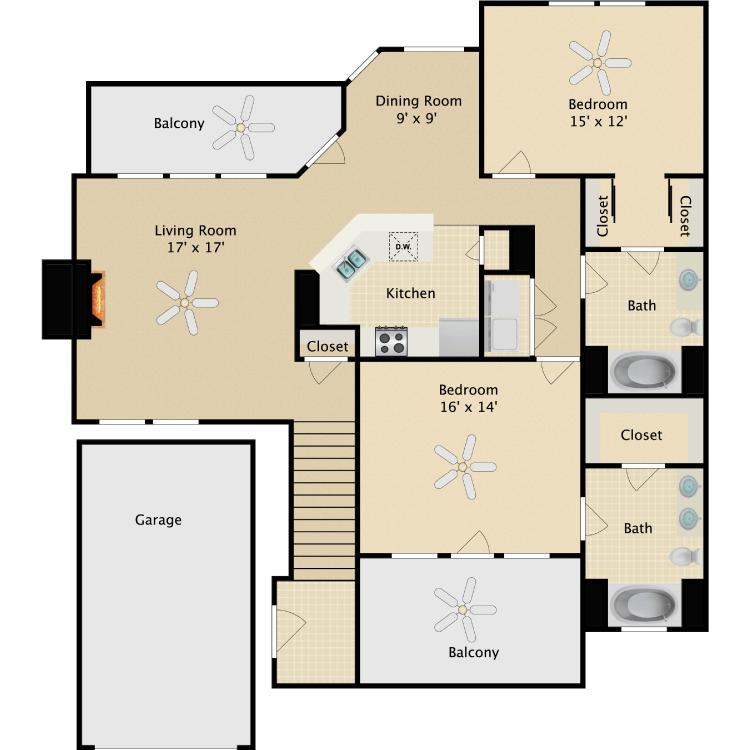 Floor plan image of Houdini
