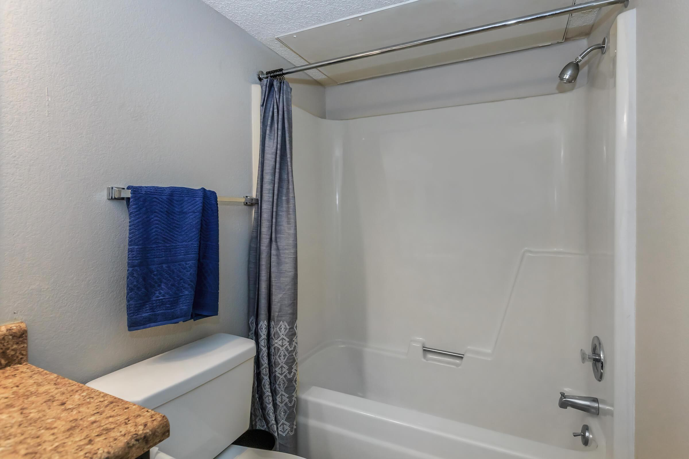 a room with a tub and shower curtain