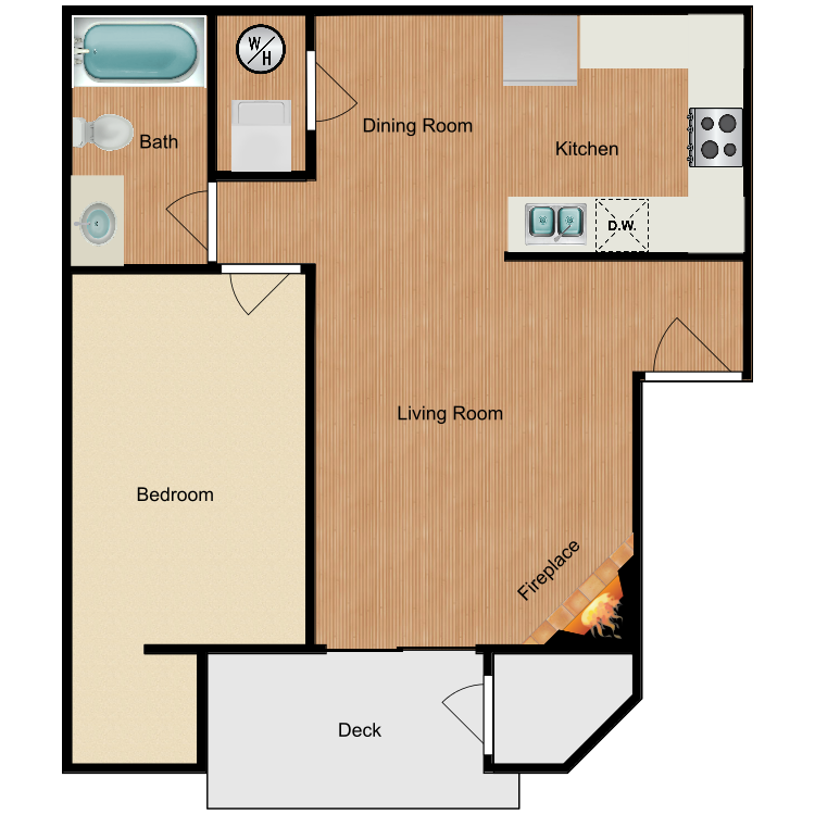 1x1 floor plan image