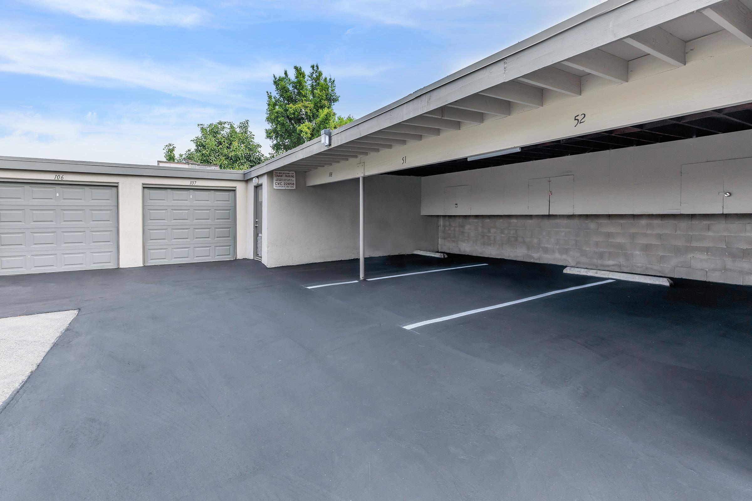 Covered parking spots and garages