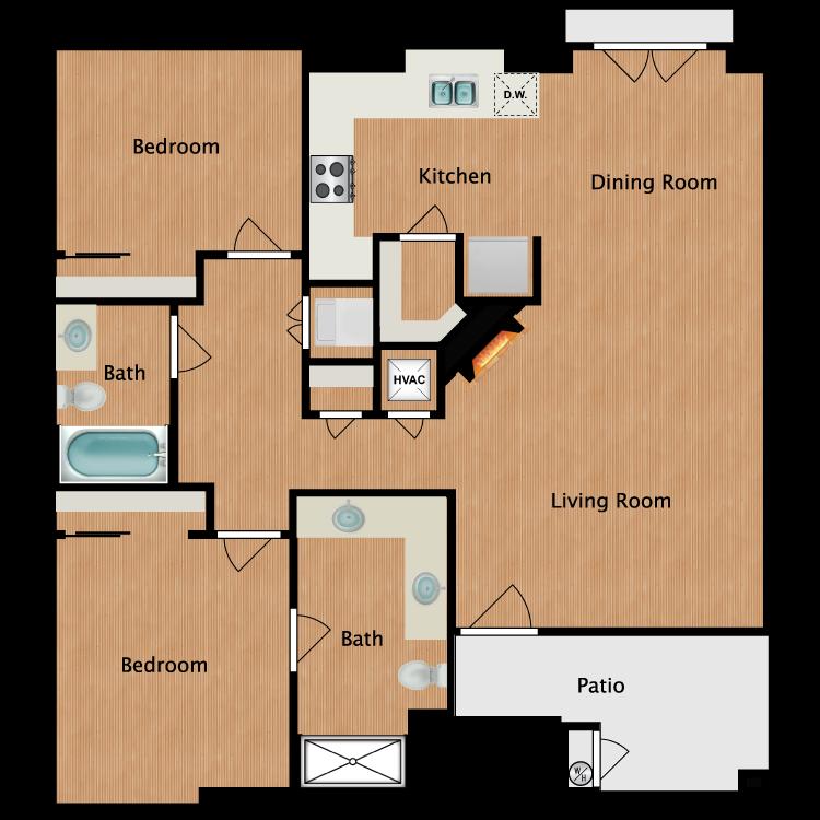 Floor plan image of 2 Bedroom 2 Bath - Plan B