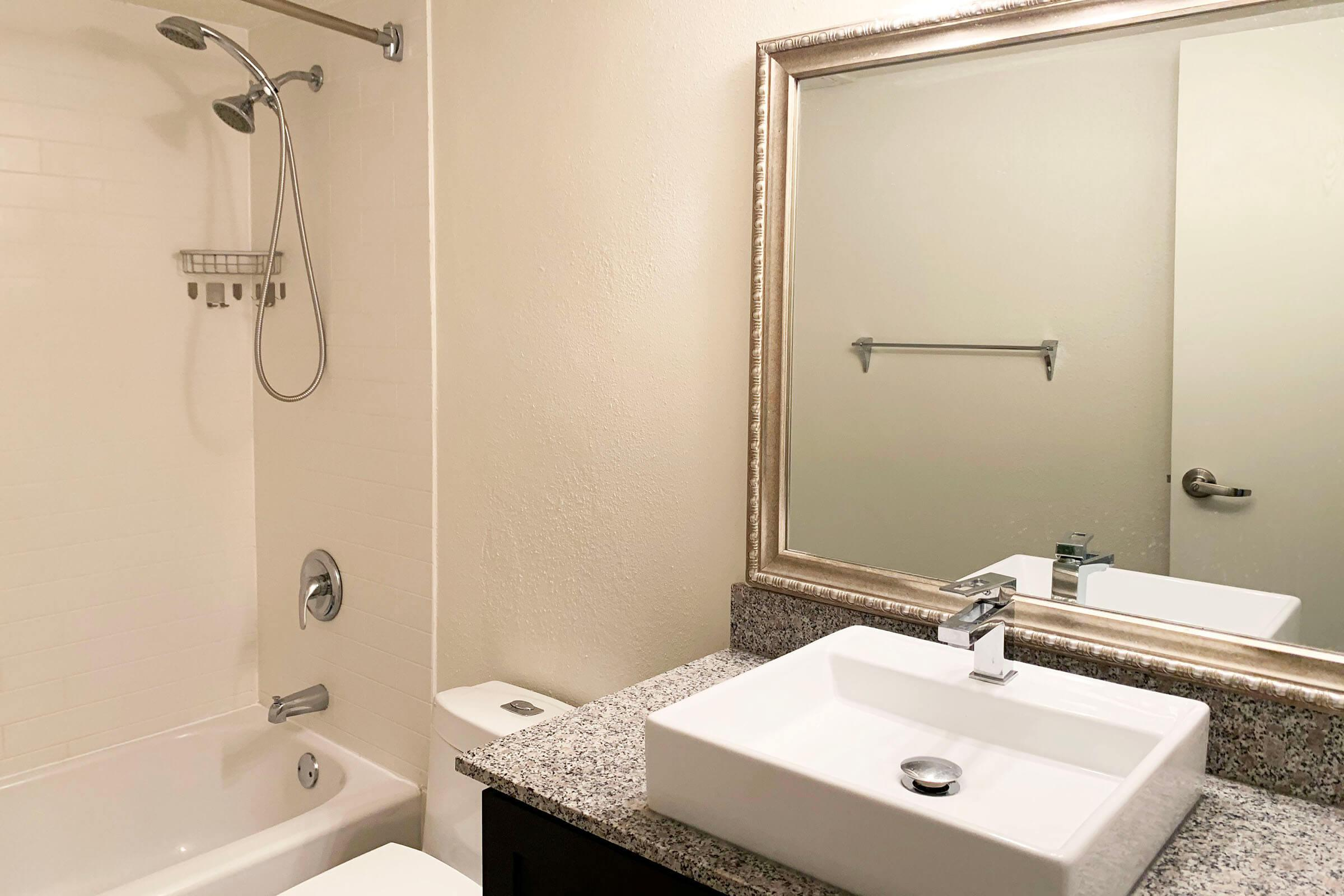 a double sink and a mirror