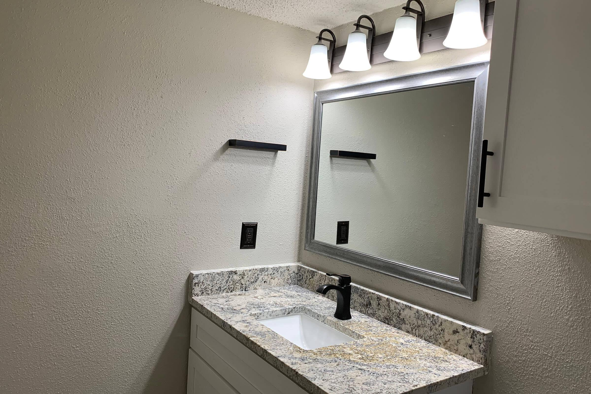 a sink and a mirror
