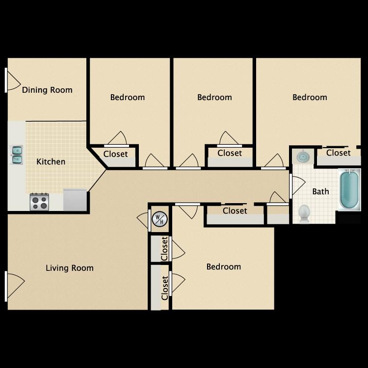 Floor plan image of 4 Bed 1 Bath