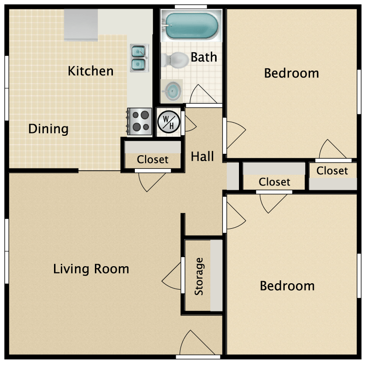 Floor plan image of 2 Bedroom 1 Bath