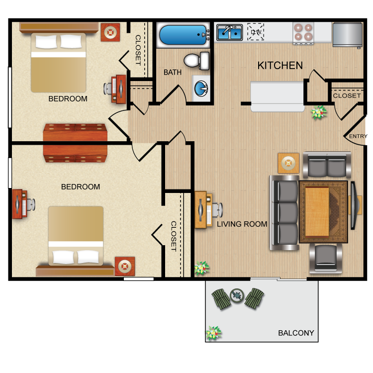 Two Bedroom floor plan image