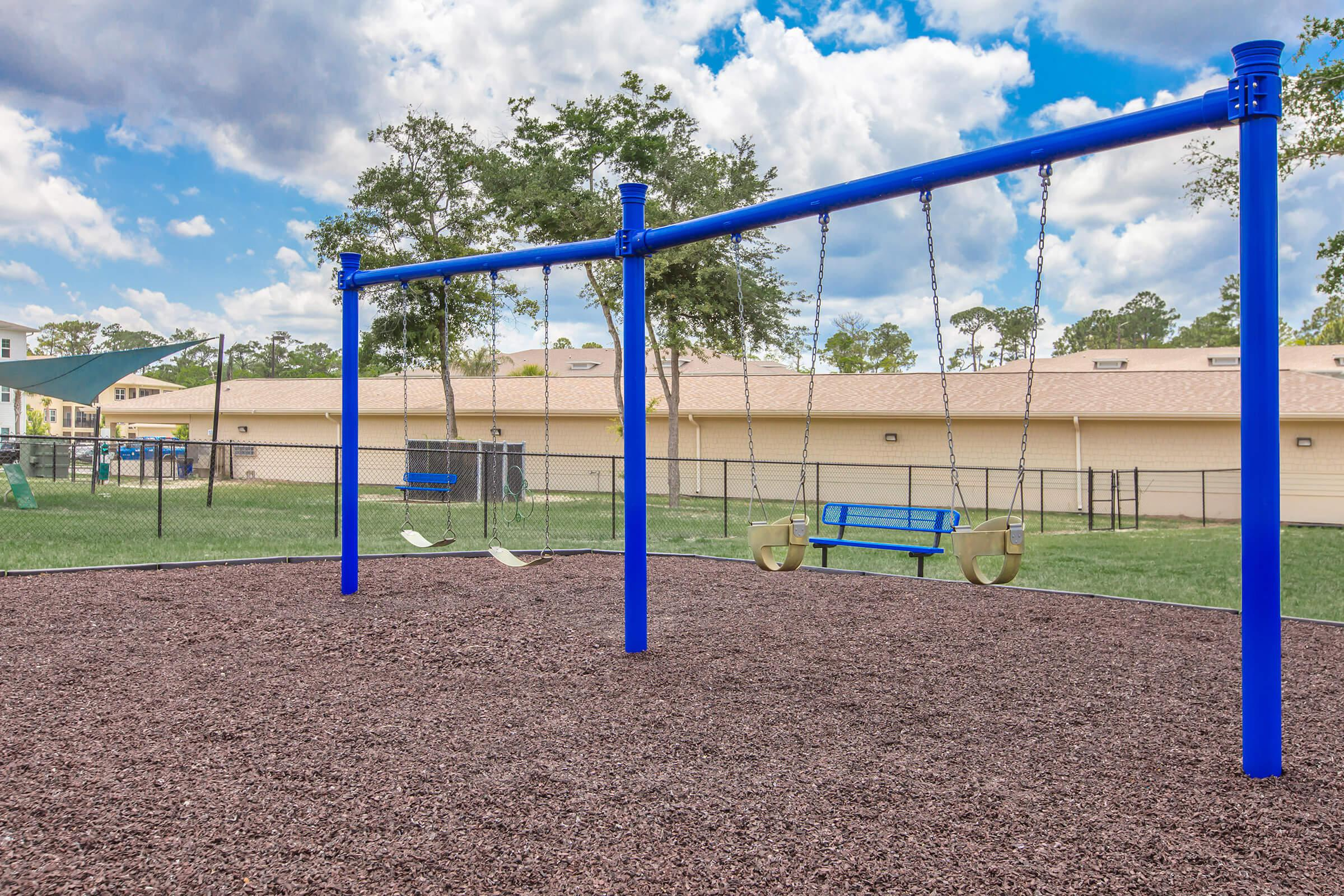 a playground with a blue background