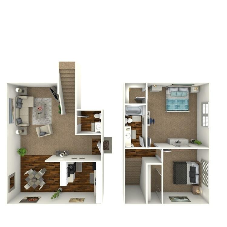 Floor plan image of Two Bedroom Townhome