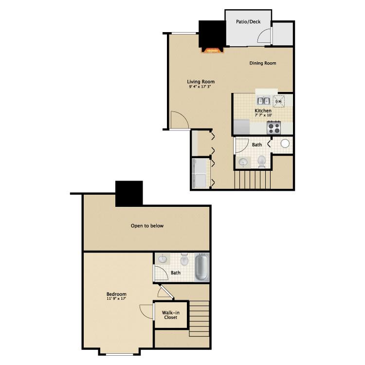 Floor plan image of 1 Bed 1.5 Bath Loft
