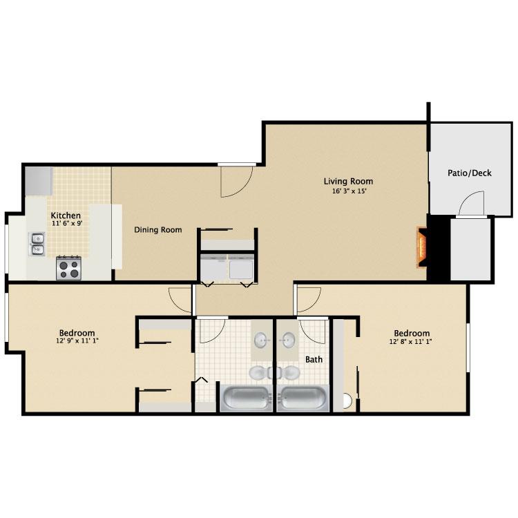 Floor plan image of 2 Bed 2 Bath B