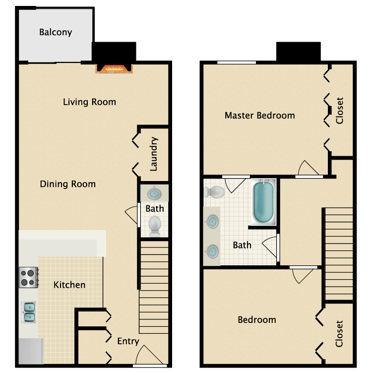 Floor plan image of 2 Bed 1.5 Bath Open Townhome