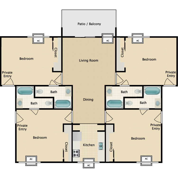 Floor plan image of Studio Quad