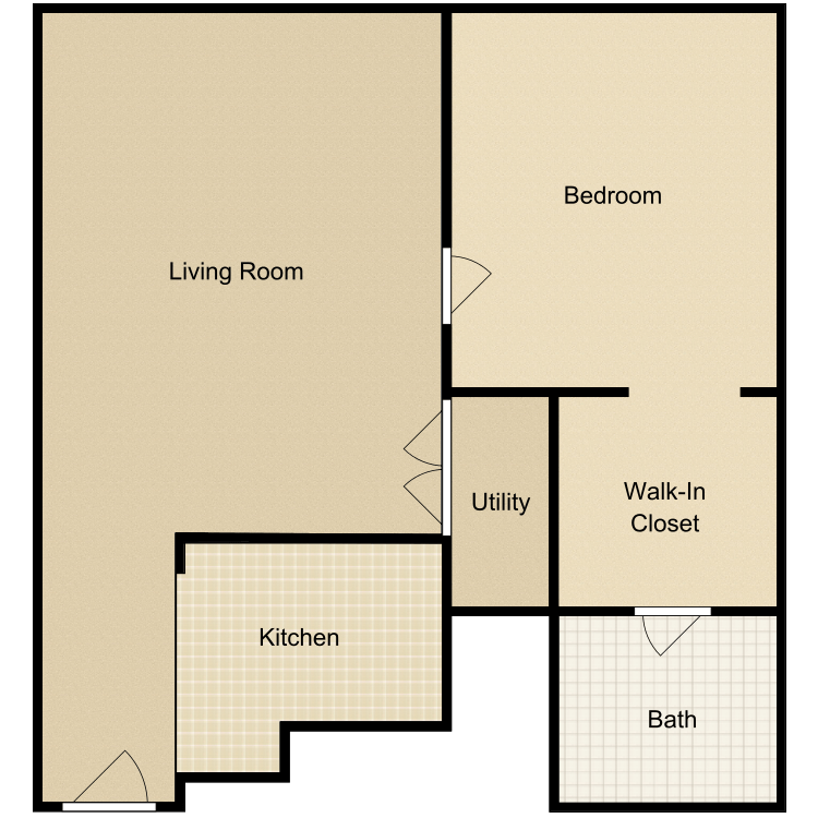 Floor plan image of 1 Bed 1 Bath-A