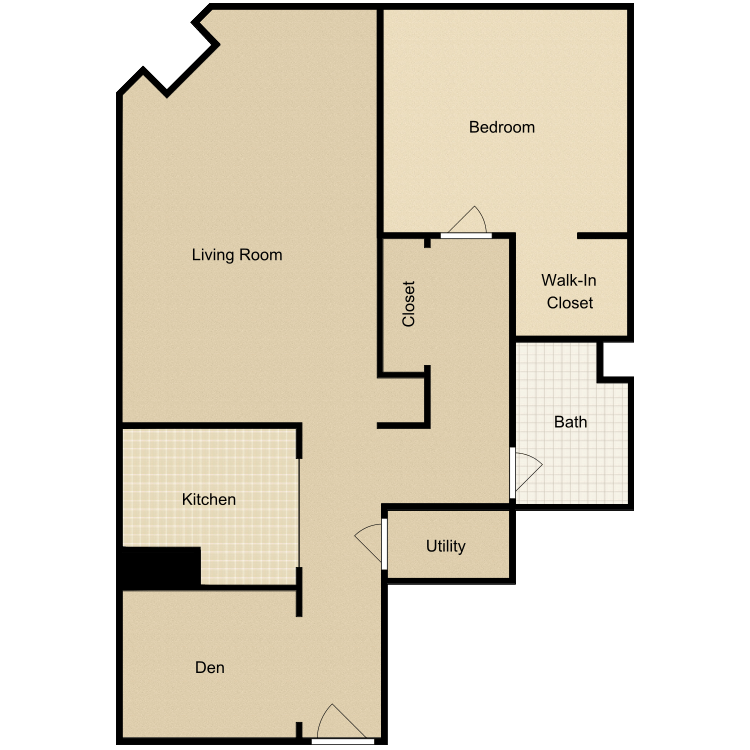 Floor plan image of 1 Bed 1 Bath-B with Den