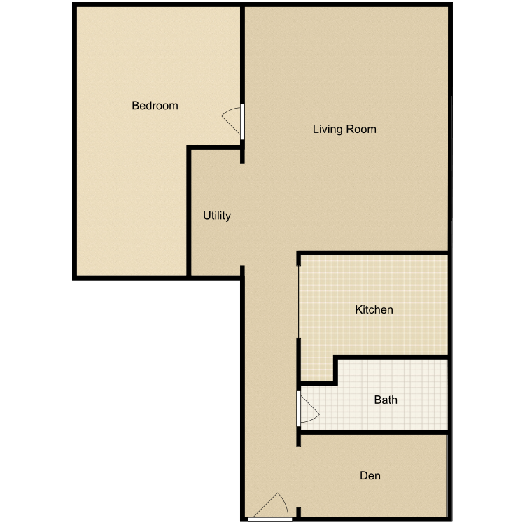 Floor plan image of 1 Bed 1 Bath-C
