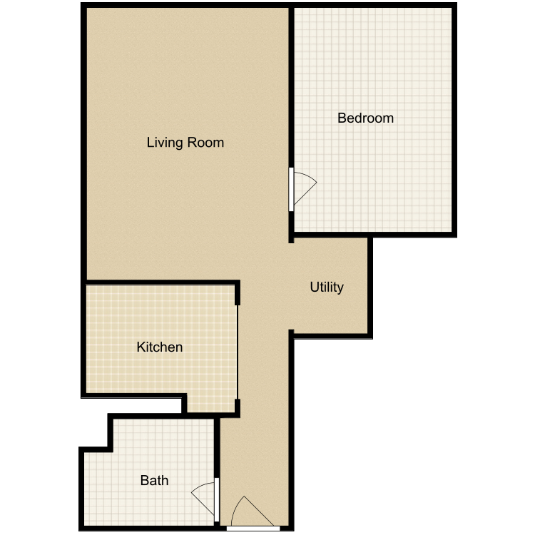 Floor plan image of 1 Bed 1 Bath-C No Den