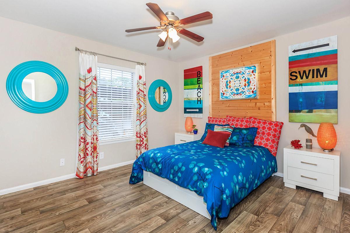 a bedroom with a blue door