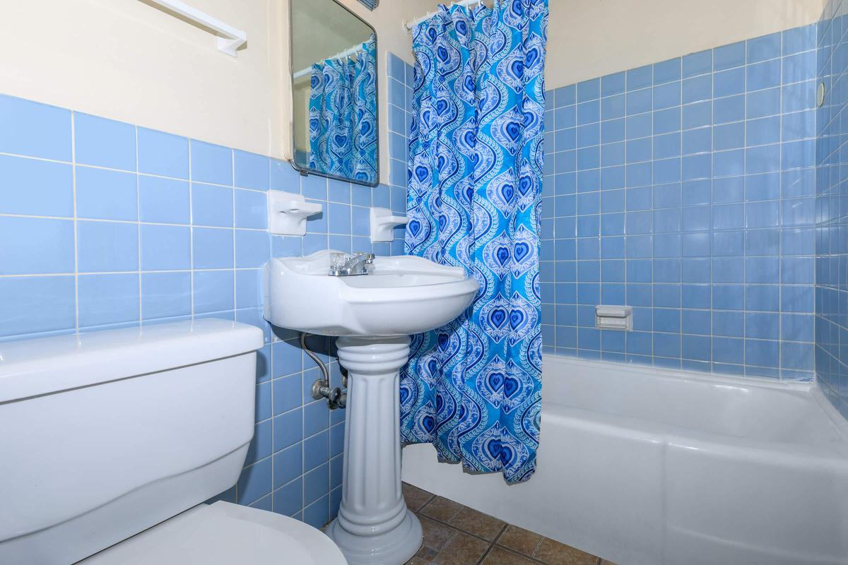 a blue and white tile on the shower