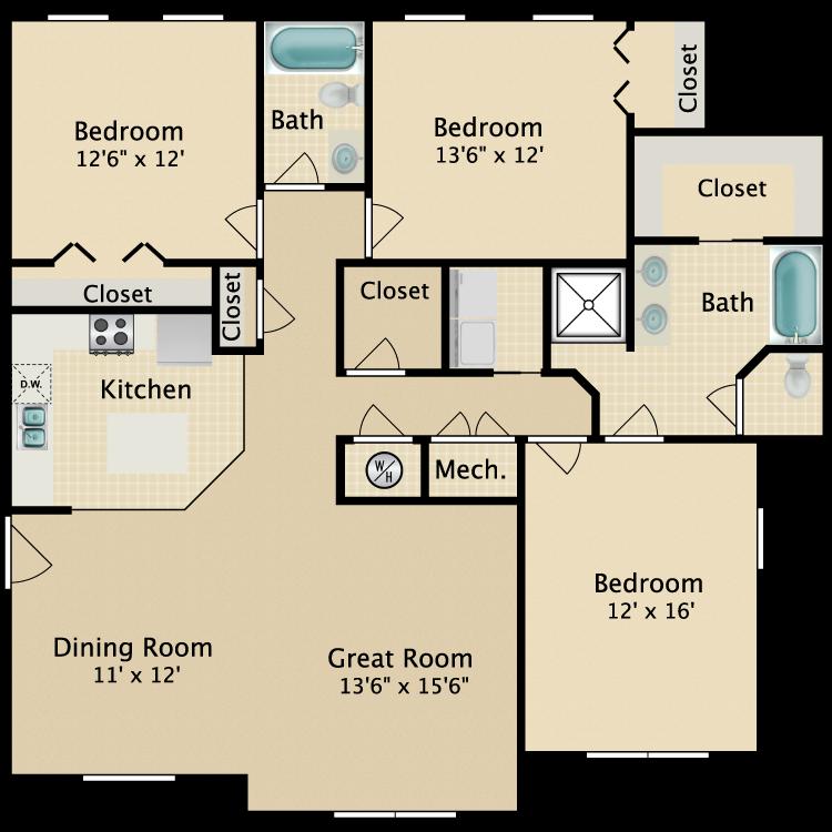 Floor plan image of 3BR