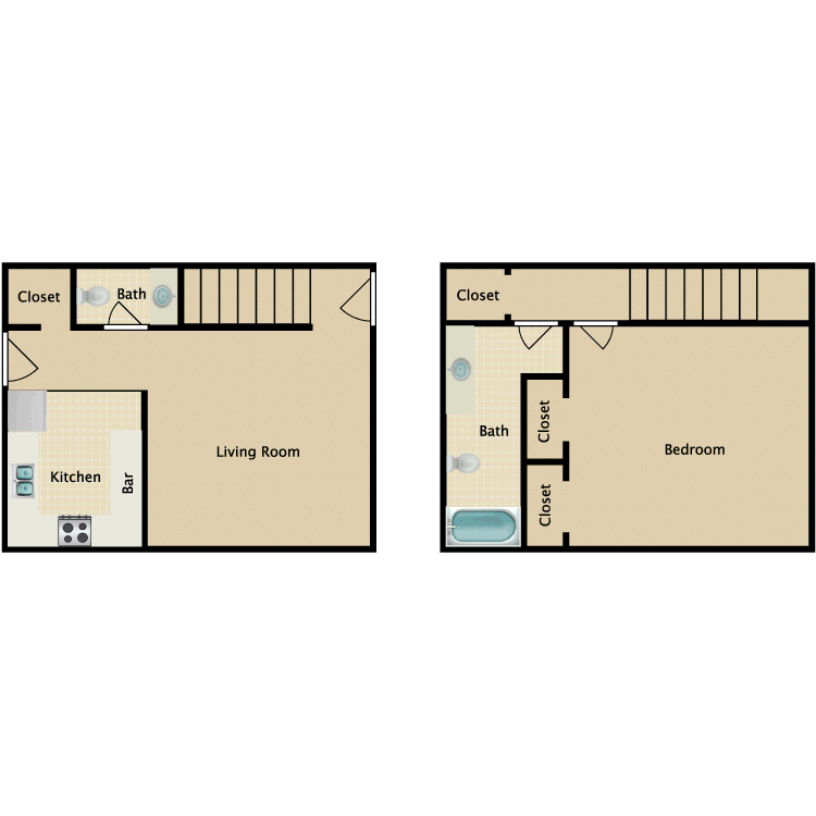 Floor plan image of 1 Bed 1.5 Bath Loft