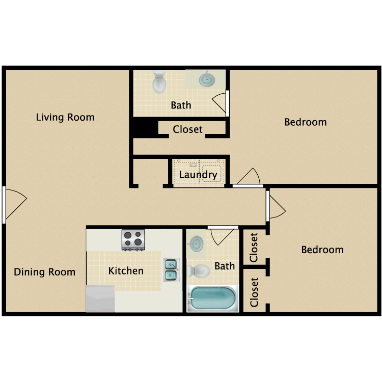 Floor plan image of 2 Bed 1.5 Bath A