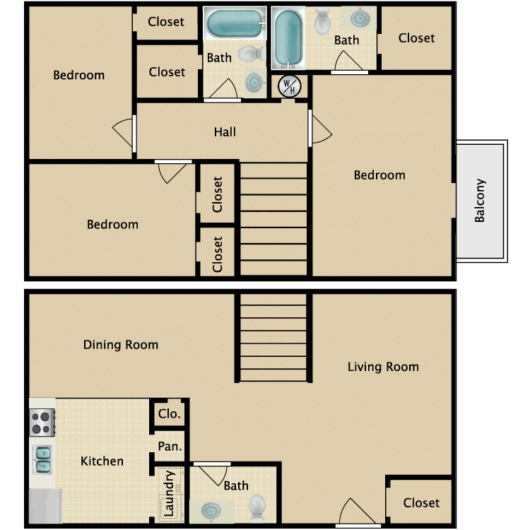 Floor plan image of 3 Bed 2.5 Bath TH